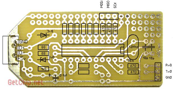 Плата преобразователя UART to USB для ATtiny2313 в TH