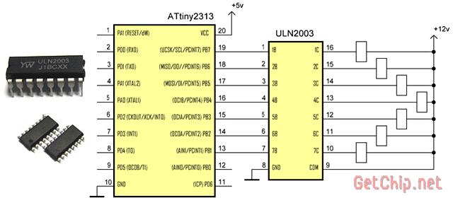 Подключение при помощи ULN2003