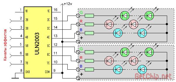 Подключение через ULN2003