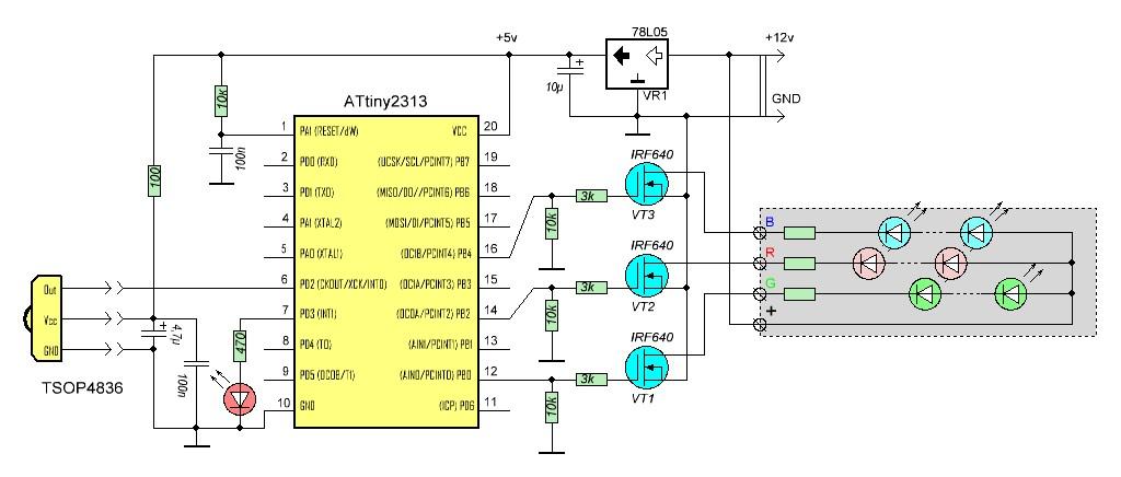 Схема RGB контроллера для светодиодной ленты