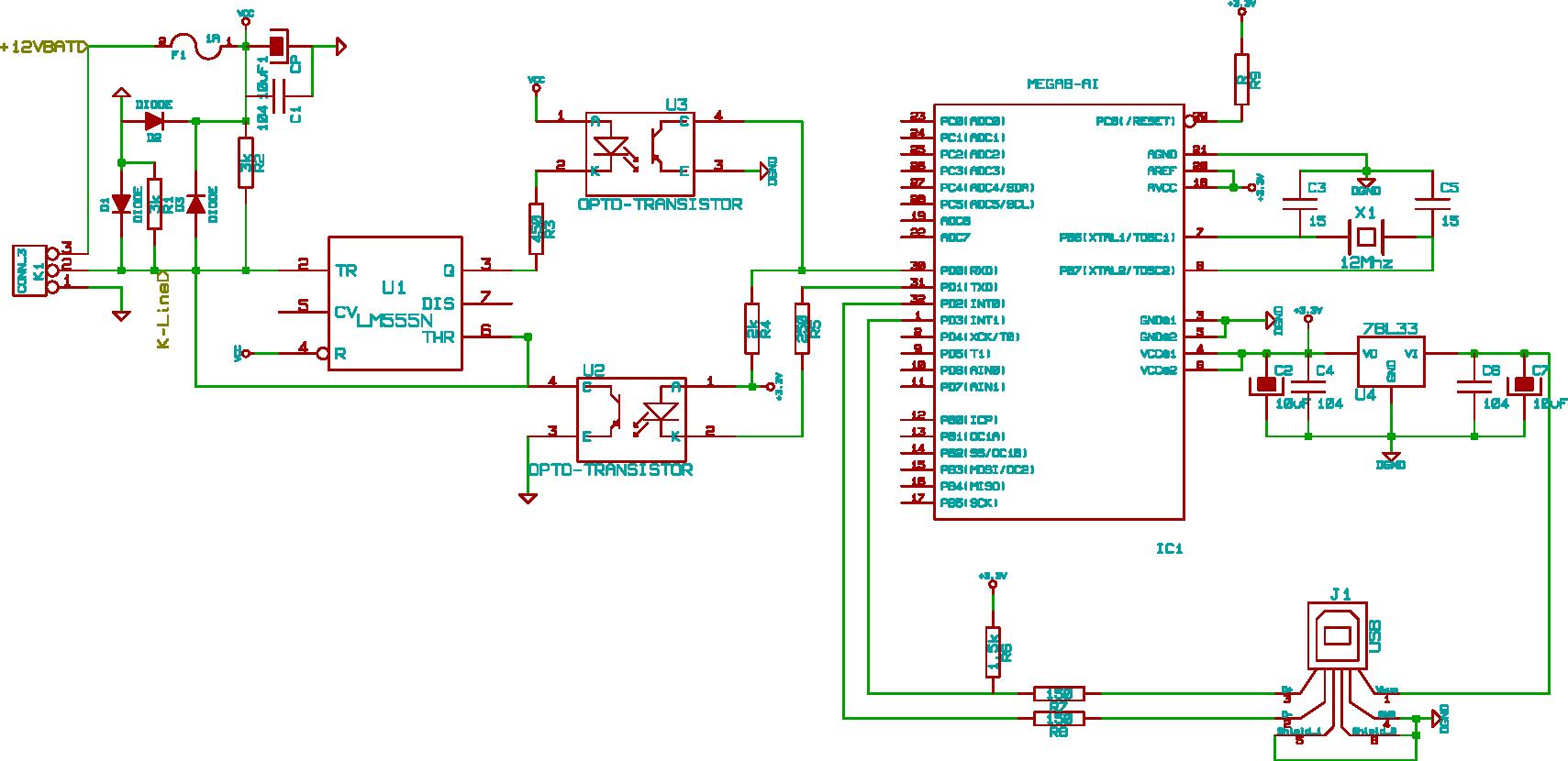 Собственно схема устройства.  В принципе, скорости на K-Line не большие.  Но однажды...  В K-Line передача происходит...